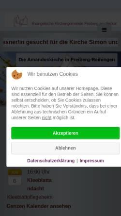 Vorschau der mobilen Webseite www.amandus-gemeinde.de, Ev. Kirchengemeinde Beihingen