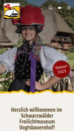 Vorschau der mobilen Webseite www.vogtsbauernhof.de, Schwarzwälder Freilichtmuseum Vogtsbauernhof