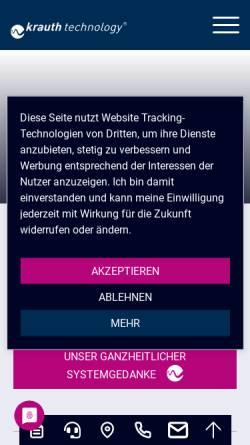 Vorschau der mobilen Webseite krauth-technology.de, krauth technology GmbH