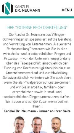 Vorschau der mobilen Webseite www.rechtsanwaelte-vs.de, Rechtsanwälte Dr. Neumann Neumann Rudolf Partnerschaft mbB