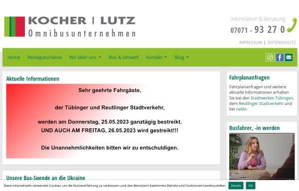 Vorschau von www.kocherlutz.de, Kocher Lutz Reisen - Omnibusverkehr Tübingen Jakob Kocher GmbH