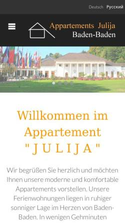 Vorschau der mobilen Webseite www.appartement-julija.de, Appartement in Baden-Baden