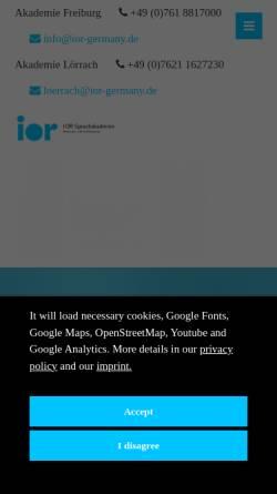 Vorschau der mobilen Webseite www.ior-sprachschule.com, Ior Sprachschule