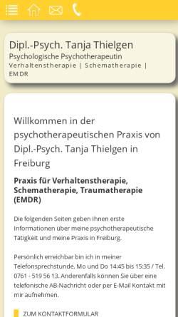Vorschau der mobilen Webseite www.psychotherapie-thielgen.de, Dipl.-Psych. Tanja Thielgen