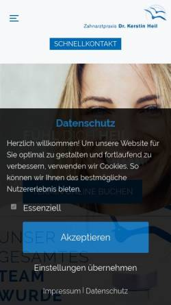 Vorschau der mobilen Webseite www.dr-heil.de, Dr. med. dent. Kerstin Heil