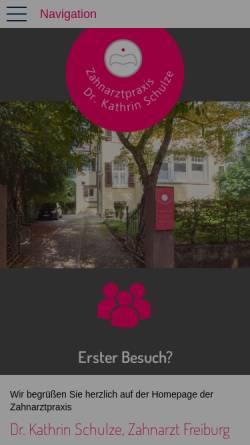 Vorschau der mobilen Webseite www.gesundezaehne-freiburg.de, Zahnarztpraxis Dr. Kathrin Schulze