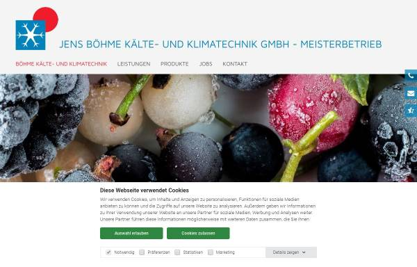 Vorschau von www.boehme-kaeltetechnik.de, Jens Böhme Kälte- und Klimatechnik GmbH