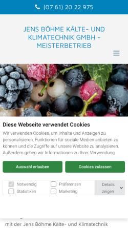 Vorschau der mobilen Webseite www.boehme-kaeltetechnik.de, Jens Böhme Kälte- und Klimatechnik GmbH