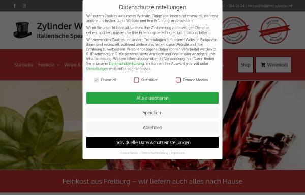 Vorschau von feinkost-zylinder.de, Sartori Matteo – Feinkost Zylinder e.K.