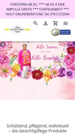 Vorschau der mobilen Webseite www.beautyteam-onlineshop.de, Beautyteam Freiburg, Katja Bitsch und Rolf Liebherr