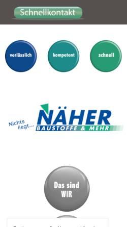Vorschau der mobilen Webseite www.naeher-baustoffe.de, Näher Baustoffe GmbH