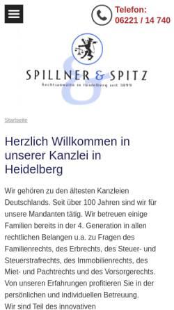 Vorschau der mobilen Webseite www.spillnerspitz.de, Spillner & Spitz Rechtsanwälte GbR