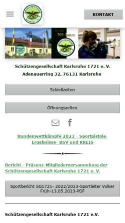 Vorschau der mobilen Webseite www.sg-karlsruhe.de, Schützengesellschaft Karlsruhe 1721 e.V.