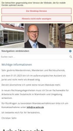 Vorschau der mobilen Webseite www.ra-sehn.de, Rechtsanwaltskanzlei Sehn