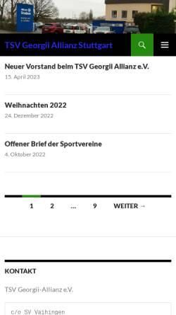 Vorschau der mobilen Webseite www.tsv-georgii-allianz.de, TSV Georgii-Allianz Stuttgart