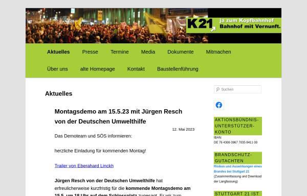 Vorschau von www.kopfbahnhof-21.de, Nein zu Stuttgart 21