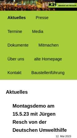Vorschau der mobilen Webseite www.kopfbahnhof-21.de, Nein zu Stuttgart 21
