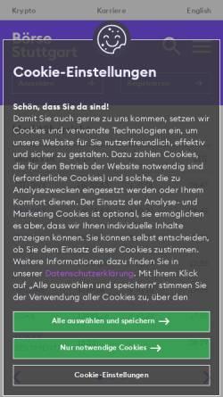 Vorschau der mobilen Webseite www.boerse-stuttgart.de, Börse Stuttgart