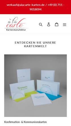 Vorschau der mobilen Webseite alacarte-karten.de, À la carte - Inh. Sylvia Elsäßer-Lacher