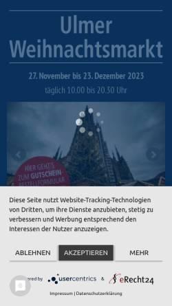 Vorschau der mobilen Webseite www.ulmer-weihnachtsmarkt.de, Ulmer Weihnachtsmarkt