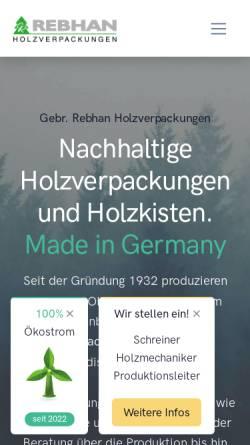 Vorschau der mobilen Webseite www.rebhan-holzverpackungen.de, Gebrüder Rebhan Holzwarenfabrik GmbH & Co. KG