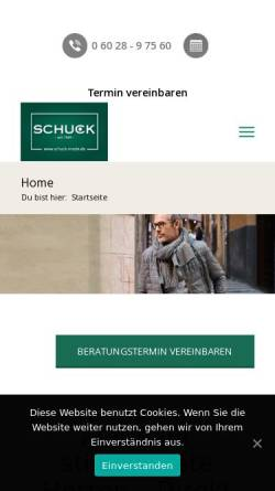 Vorschau der mobilen Webseite www.schuck-mode.de, Schuck GmbH & CO. KG
