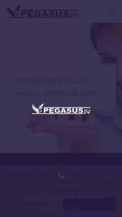 Vorschau der mobilen Webseite www.pegasus24.com, Pegasus Gesellschaft für Immobilien-, Anlagen-, Finanzierungs- und Versicherungsvermittlung mbH
