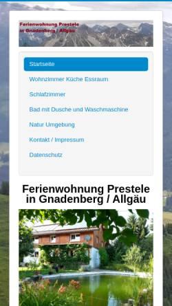 Vorschau der mobilen Webseite ferienwohnung-prestele.de, Ferienwohnung Prestele in Gnadenberg