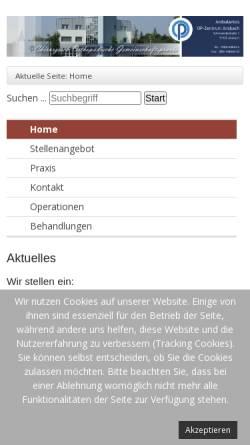 Vorschau der mobilen Webseite www.op-zentrum.de, Ambulantes OP-Zentrum Ansbach