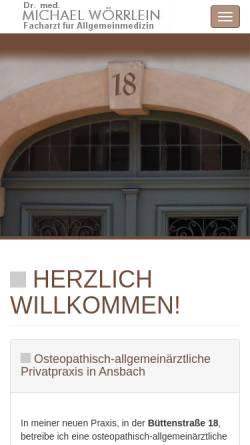 Vorschau der mobilen Webseite www.dr-woerrlein.de, Dr. med. Michael Wörrlein