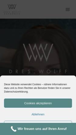Vorschau der mobilen Webseite www.dres-wolff.de, Praxis für Zahnheilkunde Dr. Christoph Wolff & Dr. Maria Wolff-Kunze