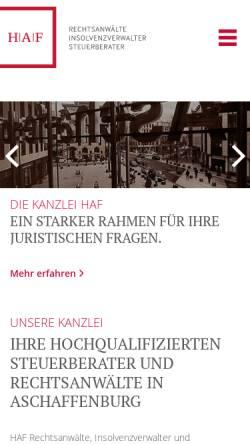 Vorschau der mobilen Webseite www.kanzlei-haf.de, HAF Rechtsanwälte, Insolvenzverwalter und Steuerberater