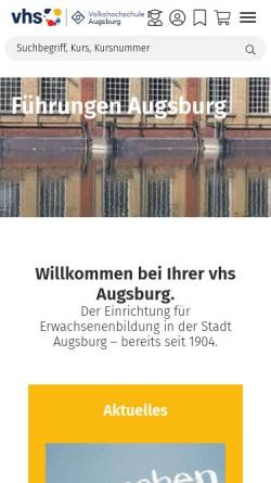 Vorschau der mobilen Webseite www.vhs-augsburg.de, Volkshochschule Augsburg - Augsburger Akademie e.V.