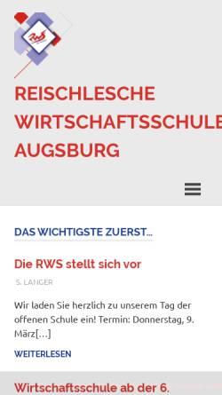 Vorschau der mobilen Webseite www.rws-augsburg.de, Reischlesche Wirtschaftsschule Augsburg