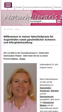 Vorschau der mobilen Webseite www.praxis-hemm.de, Dr. Dagmar Hemm