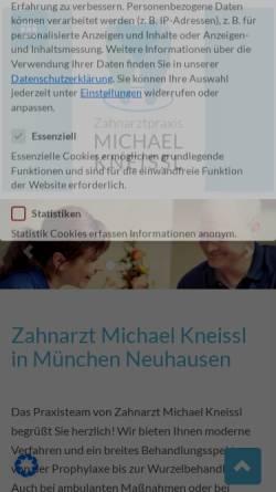 Vorschau der mobilen Webseite www.zahnarzt-kneissl-muenchen.de, Zahnarztpraxis Michael Kneissl