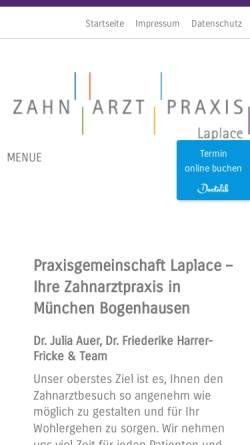 Vorschau der mobilen Webseite www.zahnarzt-laplace.de, Dr. med.dent. Julia Auer, Zahnärztin