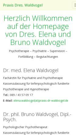Vorschau der mobilen Webseite www.praxis-dr-waldvogel.de, Praxis Dres. Elena und Bruno Waldvogel