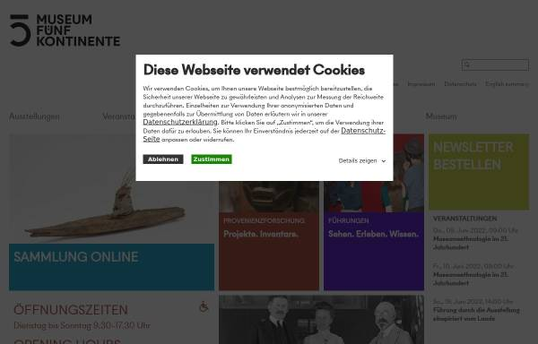 Vorschau von www.museum-fuenf-kontinente.de, Museum Fünf Kontinente