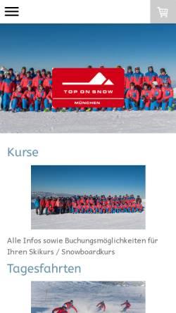 Vorschau der mobilen Webseite www.top-on-snow.de, Skischule & Snowboardschule Top on Snow München GbR