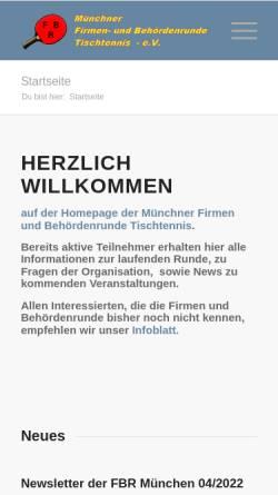 Vorschau der mobilen Webseite ttfbr.de, Tischtennis in der Münchner Firmen- und Behördenrunde FBR