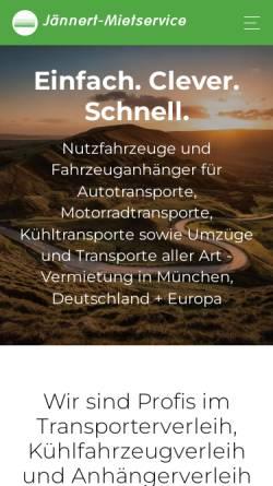 Vorschau der mobilen Webseite www.jaennert-mietservice.de, Anhänger Mietservice