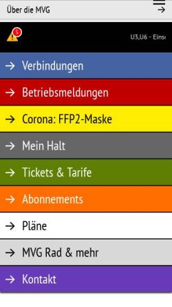 Vorschau der mobilen Webseite www.mvg.de, MVG Münchner Verkehrsgesellschaft mbH
