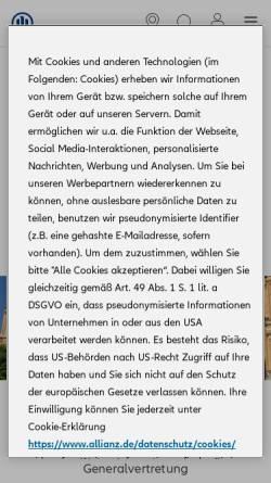 Vorschau der mobilen Webseite vertretung.allianz.de, Generalvertretung Marcus Ziegert
