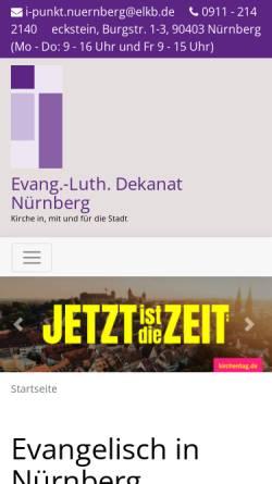 Vorschau der mobilen Webseite www.nuernberg-evangelisch.de, Nürnberg Evangelisch - Ev. Dekanat Nürnberg