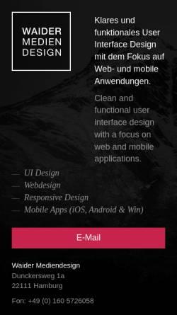 Vorschau der mobilen Webseite www.waider-mediendesign.de, Waider Mediendesign, Jan Erik Waider
