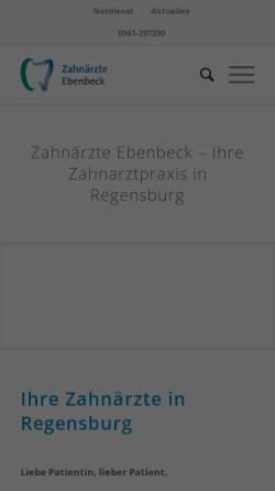 Vorschau der mobilen Webseite zahnaerzte-ebenbeck.de, Zahnärzte Ebenbeck