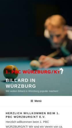 Vorschau der mobilen Webseite billard-wuerzburg.de, 1. Pool Billard Club Würzburg/KT