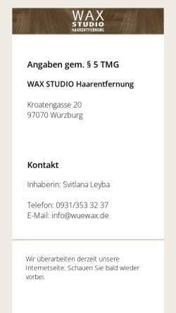 Vorschau der mobilen Webseite www.wuewax.de, Wax Studio Haarentfernung