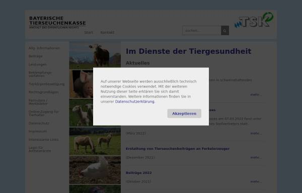 Vorschau von www.btsk.de, Bayerische Tierseuchenkasse